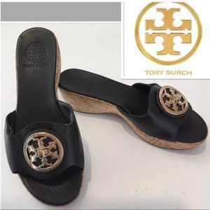 👡 Tory Burch Black Leather Large Logo Medallion